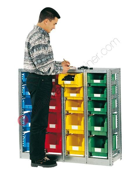 Scaffalatura mm 1092 x 350 H 1010 con 20 cassette a bocca di lupo 350/300 x 200 mm