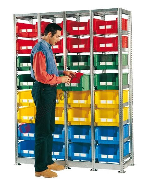 Scaffalatura mm 1492 x 500 H 2010 con 32 cassette a bocca di lupo 500/450 x 300 mm