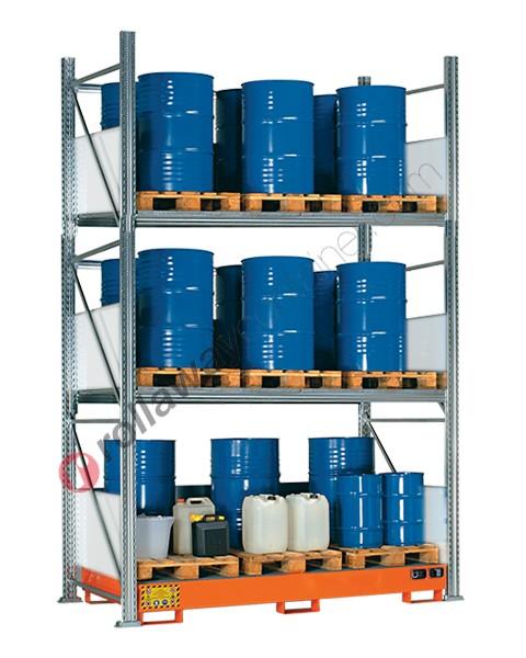 Scaffalatura metallica con vasca di contenimento per 24 fusti da 200 lt in verticale su 3 piani
