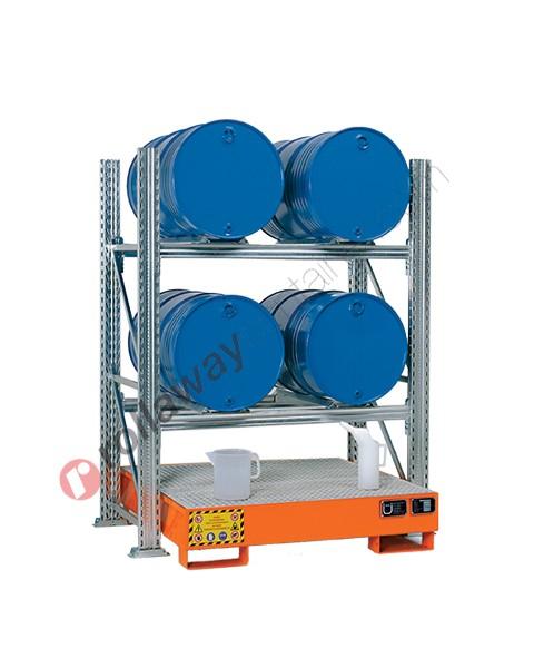 Scaffalatura metallica con vasca di contenimento per 4 fusti da 200 lt in orizzontale su 2 piani