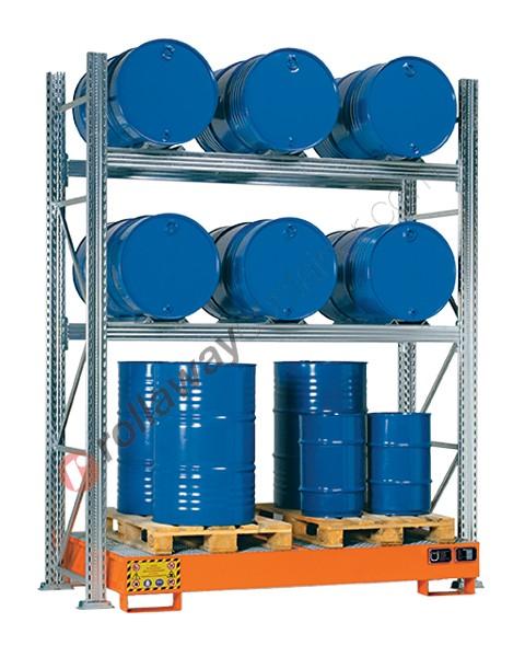 Scaffalatura metallica con vasca di contenimento per 6 fusti da 200 lt in orizzontale e 3 fusti da 200 lt in verticale