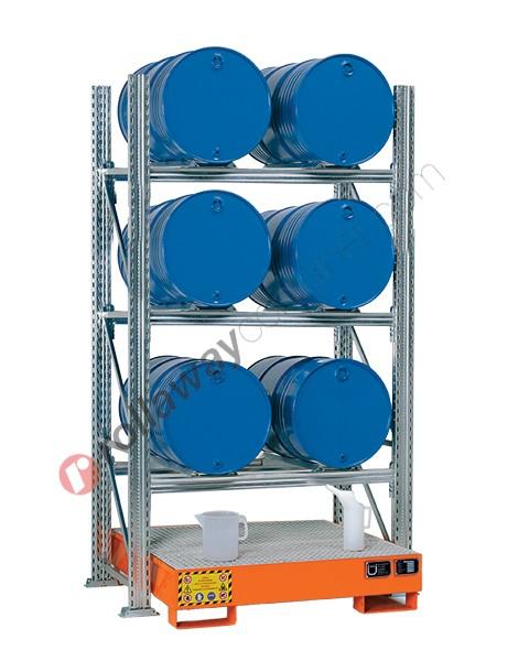 Scaffalatura metallica con vasca di contenimento per 6 fusti da 200 lt in orizzontale su 3 piani