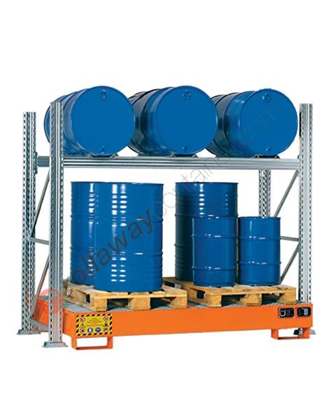 Scaffalatura metallica con vasca di contenimento per 3 fusti da 200 lt in orizzontale e 3 fusti da 200 lt in verticale