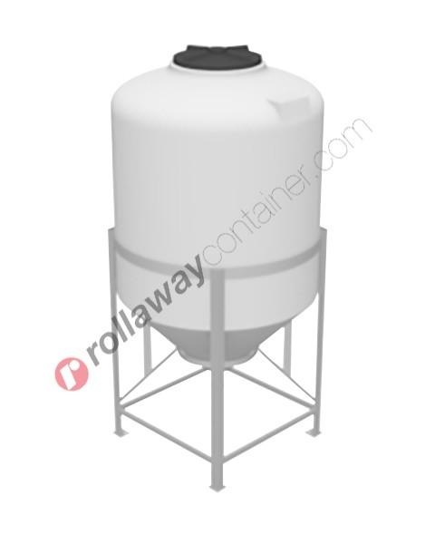 Serbatoio per alimenti e prodotti chimici liquidi e solidi in polietilene tronco-conico superficie bombata