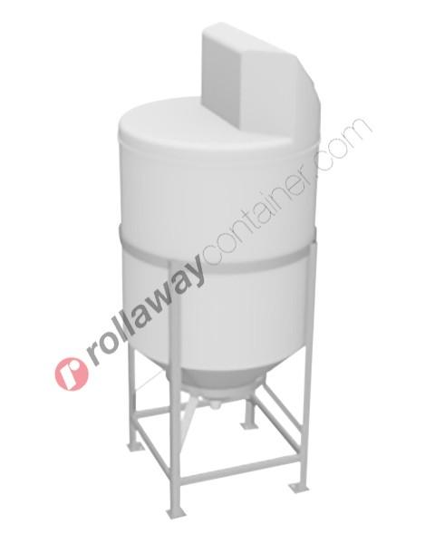 Serbatoio per alimenti e prodotti chimici liquidi in polietilene tronco-conico con superficie piana e alzata laterale con boccaporto