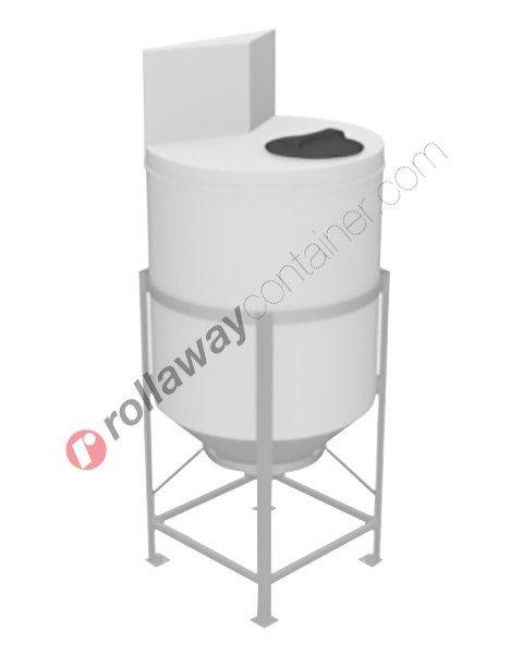 Serbatoio per alimenti e prodotti chimici liquidi in polietilene tronco-conico con superficie piana e alzata laterale