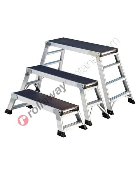 Sgabello richiudibile in alluminio a doppia salita uso industriale professionale Saliscendi