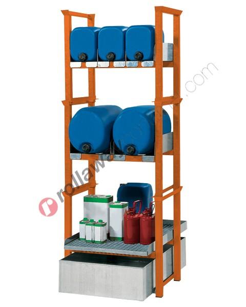 Stazione di stoccaggio per fusti olio e piccoli contenitori con vasca di raccolta da 205 litri