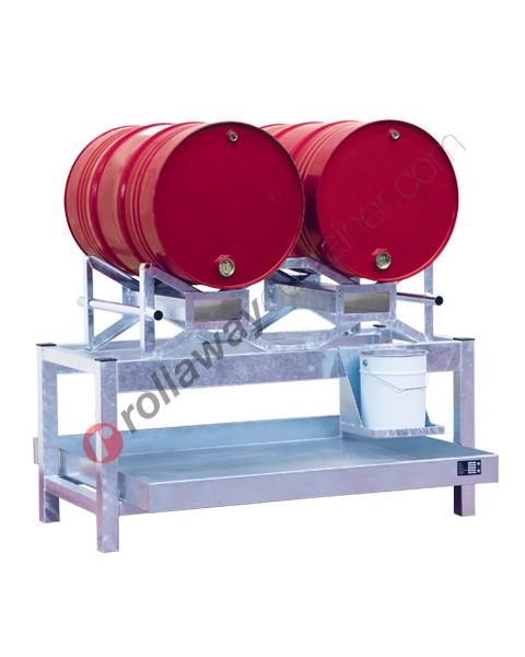 Stazione di stoccaggio per fusti olio con vasca di raccolta da 220 litri