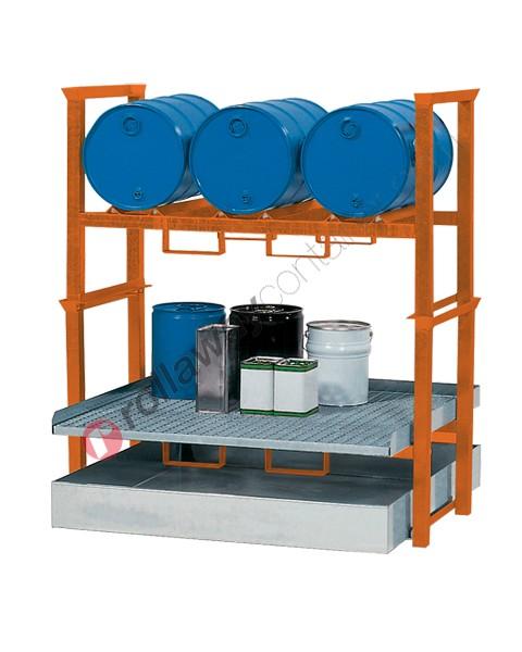 Stazione di stoccaggio per fusti olio e piccoli contenitori con vasca di raccolta da 270 litri