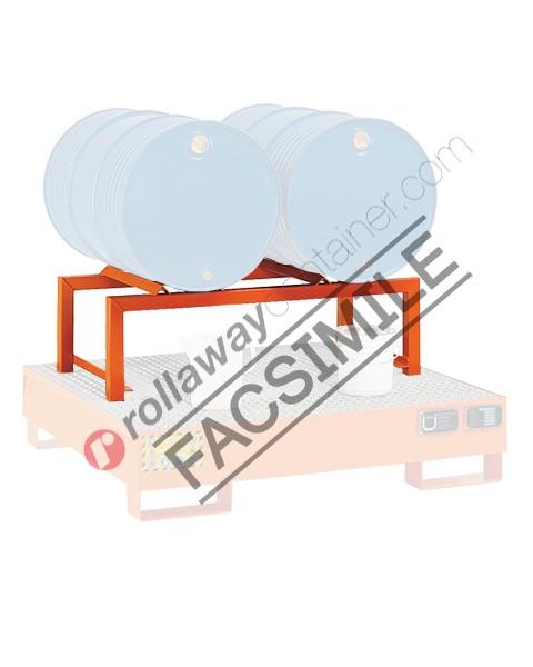 Supporto in acciaio porta fusti orizzontale mm 1180 x 600 H 380 per 3 fusti da 60 litri