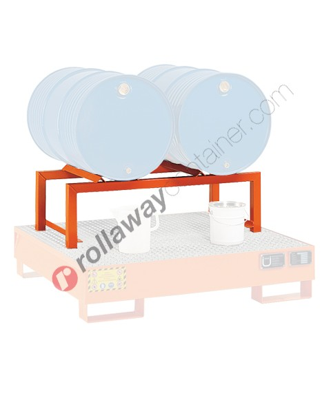 Supporto in acciaio porta fusti orizzontale mm 1180 x 600 H 380 per 2 fusti da 200 litri