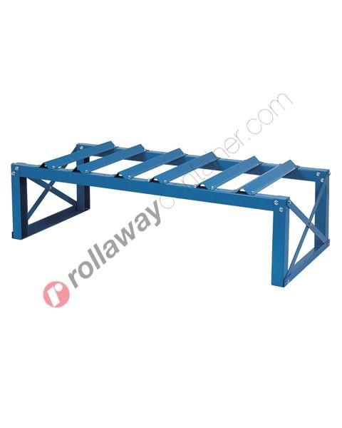 Supporto in acciaio porta fusti orizzontale mm 1360 x 600 H 400 per 3 fusti da 60 litri