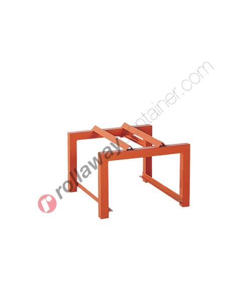 Supporto in acciaio porta fusti orizzontale mm 600 x 600 H 380 per 1 fusto da 200 litri