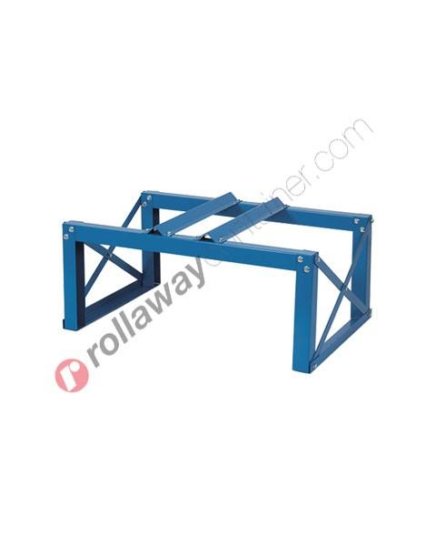 Supporto in acciaio porta fusti orizzontale mm 880 x 600 H 400 per 1 fusto da 200 litri