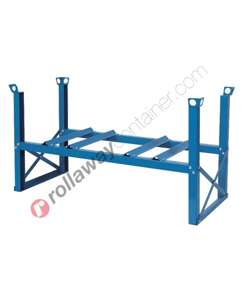 Supporto sovrapponibile in acciaio porta fusti orizzontale mm 1420 x 670 H 760 per 2 fusti da 200 litri