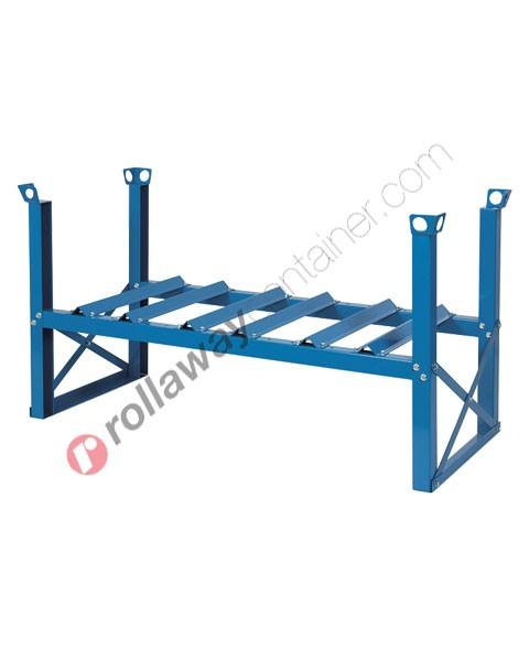Supporto sovrapponibile in acciaio porta fusti orizzontale mm 1420 x 670 H 760 per 3 fusti da 60 litri