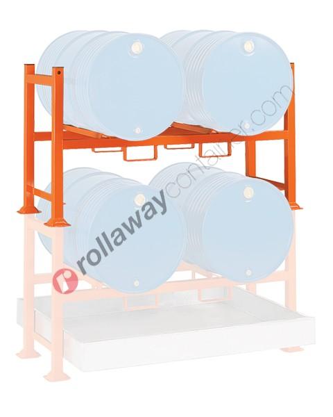 Supporto sovrapponibile in acciaio porta fusti orizzontale mm 1500 x 700 H 850 per 2 fusti da 200 lt