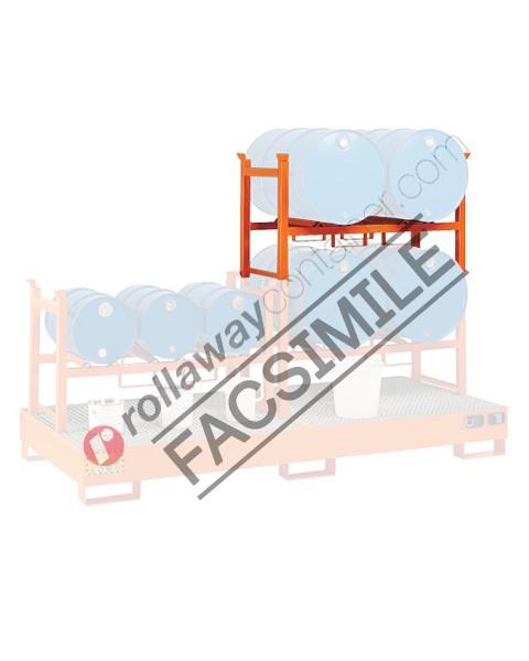Supporto sovrapponibile in acciaio porta fusti orizzontale mm 835 x 600 H 810 per 1 fusto da 200 lt