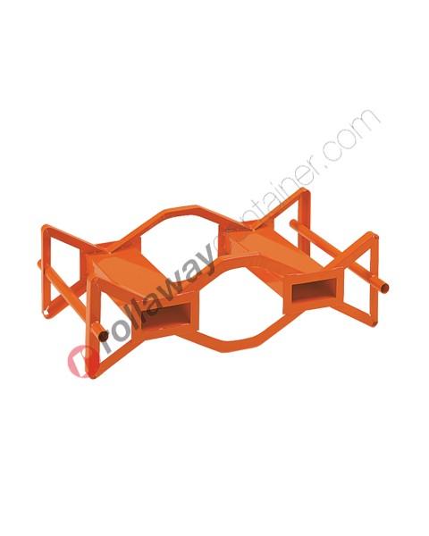 Supporto sovrapponibile e pallettizzabile in acciaio porta fusti orizzontale mm 1170 x 750 H 360 per 2 fusti da 200 lt