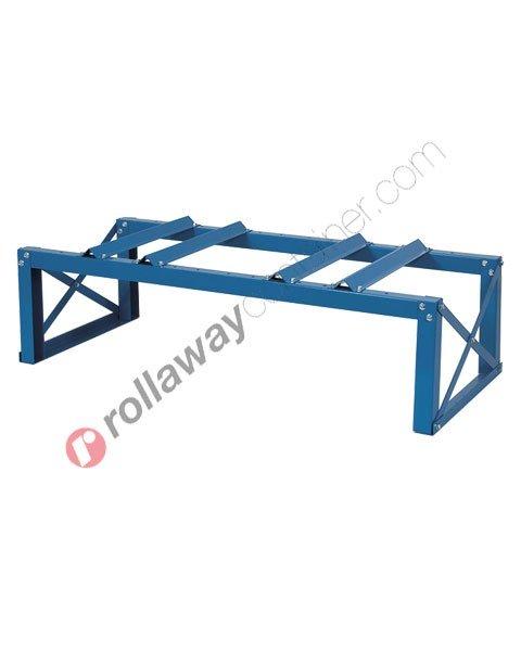 Supporto in acciaio porta fusti orizzontale mm 1360 x 600 H 400 per 2 fusti da 200 litri