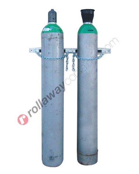 Supporto bombole gas a muro in acciaio zincato per due bombole 860 x 60 x 115 mm