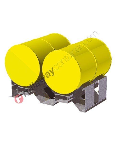 Supporto sovrapponibile in acciaio porta fusti orizzontale mm 1258 x 1050 H 340 per 2 fusti da 200 litri