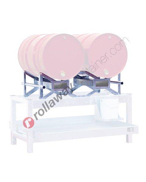 Supporto sovrapponibile e pallettizzabile in acciaio zincato porta fusti orizzontale mm 1170 x 750 H 360 per 2 fusti da 200 lt
