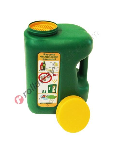 Tanica olio esausto in HDPE con tappo a vite e filtro da 5 litri