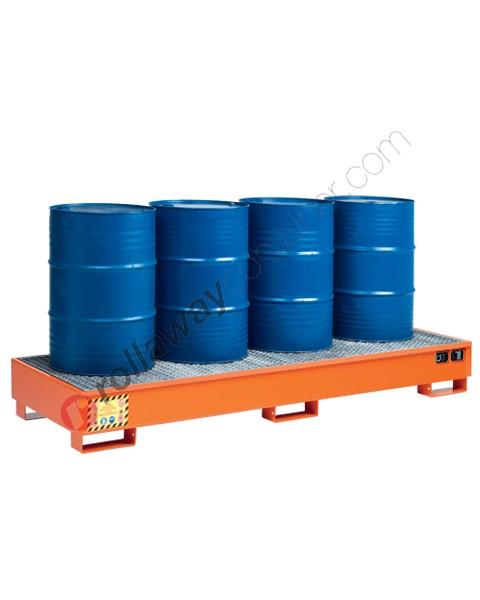 Vasca di contenimento liquidi in acciaio verniciata con griglia 2660 x 850 x 330 mm per 4 fusti