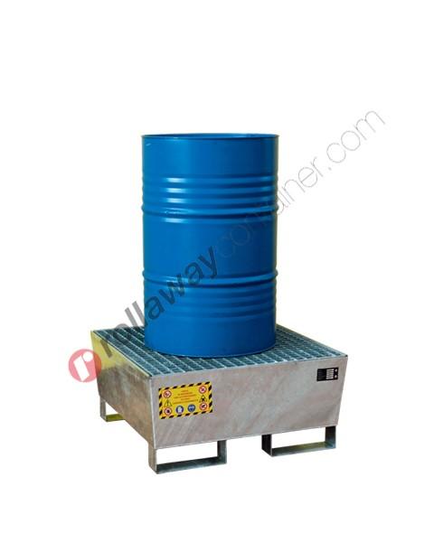 Vasca di contenimento liquidi conica in acciaio zincato con griglia 800 x 800 x 450 mm per 1 fusto