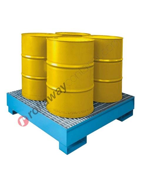 Vasca di contenimento liquidi da 300 litri in acciaio zincata e verniciata con griglia 1355 x 1255 x 290 mm per 4 fusti
