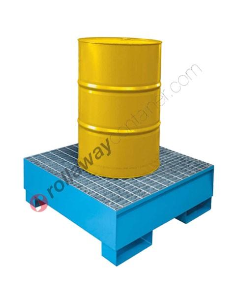 Vasca di contenimento liquidi da 200 litri in acciaio zincata e verniciata con griglia 960 x 960 x 332 mm per 1 fusto