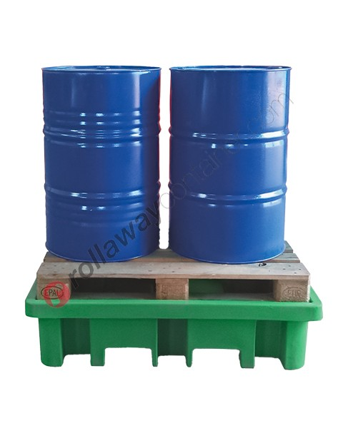 Vasca di contenimento liquidi da 210 litri in polietilene a carico diretto 1300 x 900 x 330 mm per 2 fusti