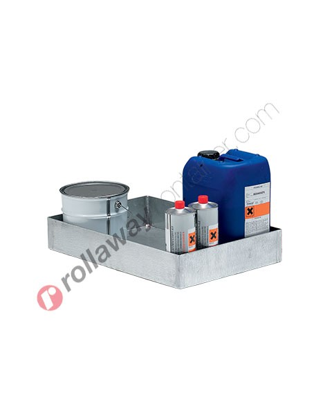 Vasca di raccolta in acciaio zincato 600 x 400 x 100 mm per piccoli contenitori
