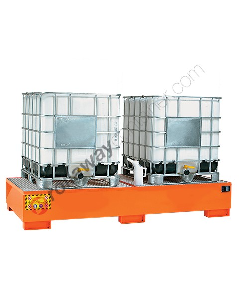 Vasca di raccolta da 1000 litri in acciaio verniciata con griglia 2720 x 1315 x 420 mm