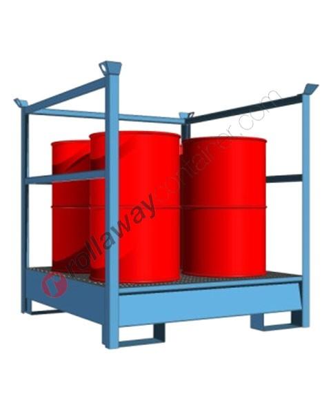 Vasca di raccolta liquidi da 300 litri in acciaio verniciata con griglia e parete a fascia 1350 x 1440 x 1400 mm per 4 fusti