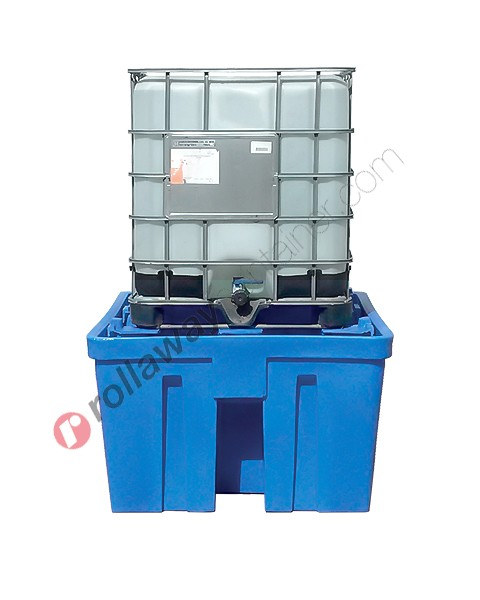 Vasca di raccolta da 1060 litri in polietilene per cisterne a carico diretto 1320 x 1600 x 800 mm