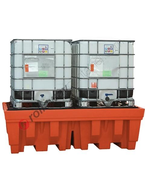 Vasca di raccolta da 1400 litri in polietilene per cisterne con griglia 2400 x 1420 x 740 mm