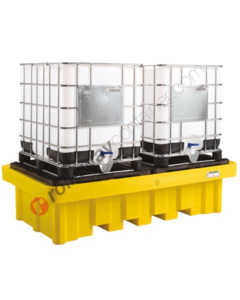 Vasca di raccolta da 1150 litri in polietilene per cisterne con griglia 2540 x 1370 x 650 mm