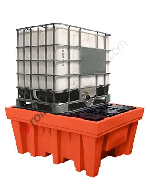 Vasca di raccolta da 1070 litri in polietilene per cisterne con griglia e marsupio 1420 x 1800 x 770 mm