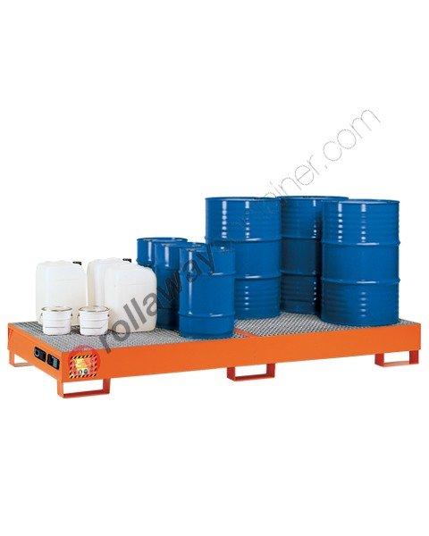 Vasca di contenimento liquidi in acciaio verniciata con griglia 2720 x 1250 x 300 mm per 8 fusti