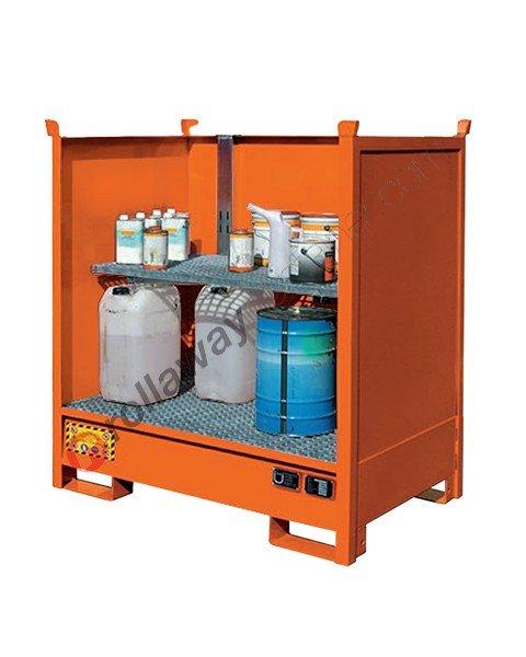 Vasca contenimento liquidi in acciaio verniciata con pareti per piccoli contenitori 1350 x 860 x 1460 mm
