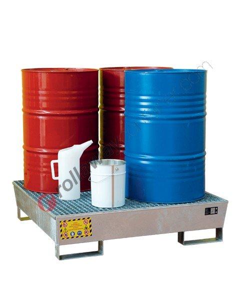 Vasca di contenimento liquidi conica in acciaio zincato con griglia 1200 x 1200 x 300 mm per 4 fusti