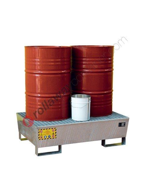Vasca di contenimento liquidi conica in acciaio zincato con griglia 1200 x 800 x 340 mm per 2 fusti