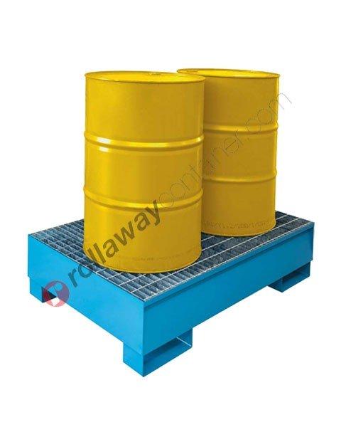 Vasca di contenimento liquidi da 250 litri in acciaio zincata e verniciata con griglia 1355 x 875 x 332 mm per 2 fusti