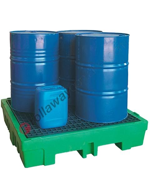 Vasca di contenimento liquidi da 260 litri in polietilene con griglia 1320 x 1320 x 270 mm per 4 fusti