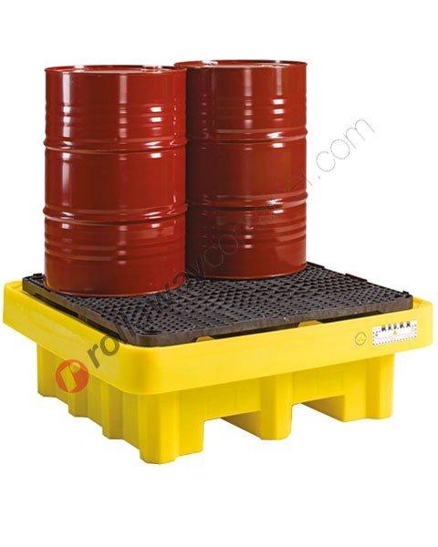 Vasca di contenimento liquidi da 500 litri in polietilene con griglia 1350 x 1350 x 490 mm per 4 fusti