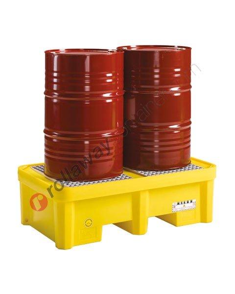 Vasca di contenimento liquidi da 305 litri in polietilene con griglia 1350 x 800 x 420 mm per 2 fusti