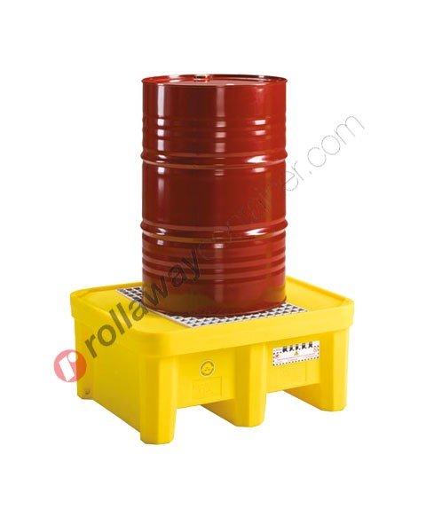 Vasca di contenimento liquidi da 225 litri in polietilene con griglia 925 x 800 x 420 mm per 1 fusto